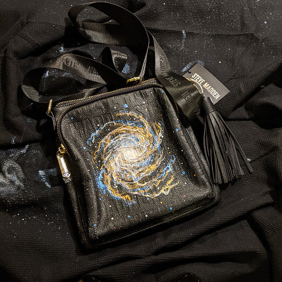 One of a kind Spiral Galaxy on Leather Purse