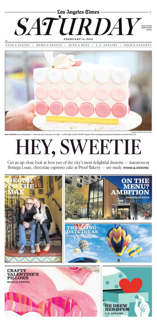 Valentine's Day stories - Los Angeles Times section cover - Alene Dawson