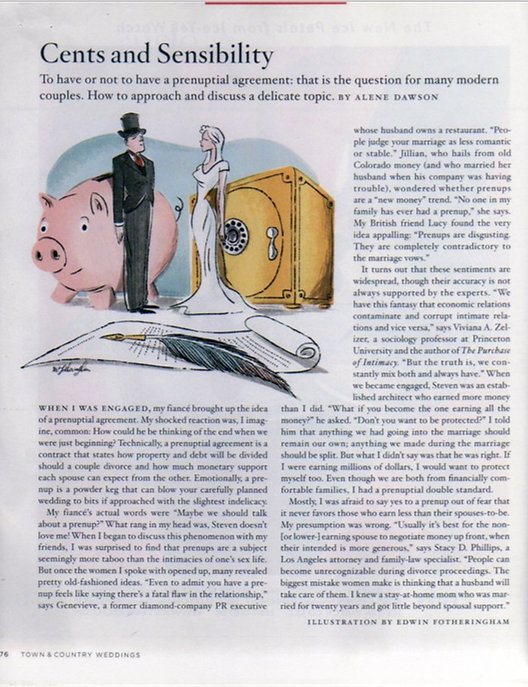 Cents and Sensibility by Alene Dawson for Town & Country magazine pg. 1
