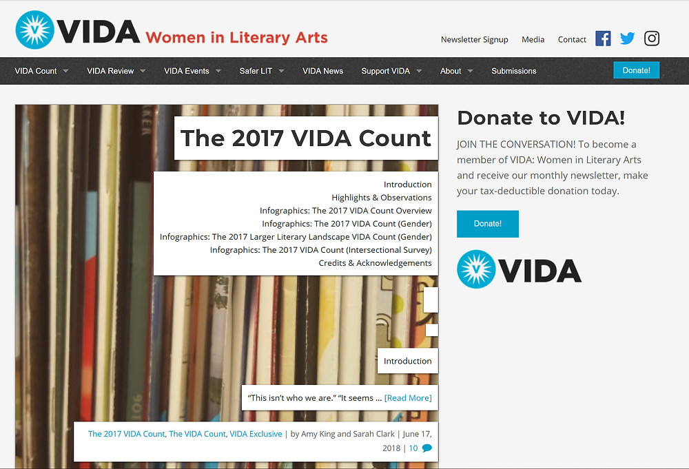 Vida: Women in Literary Arts website homepage