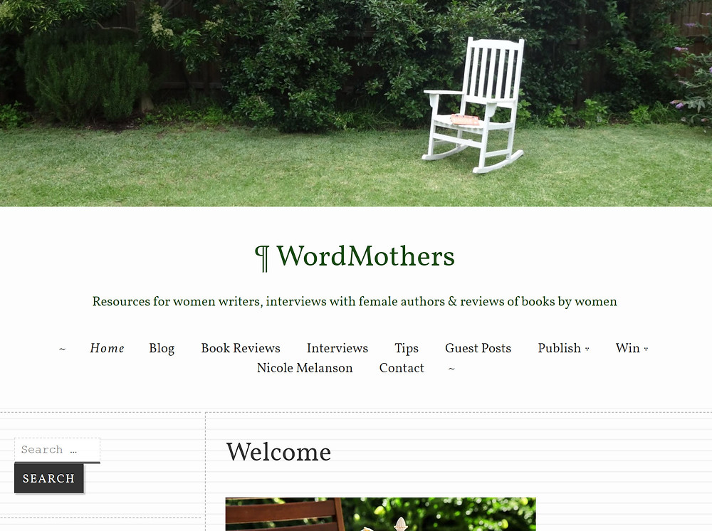 WordMothers website, which features a white rocking chair on a lawn