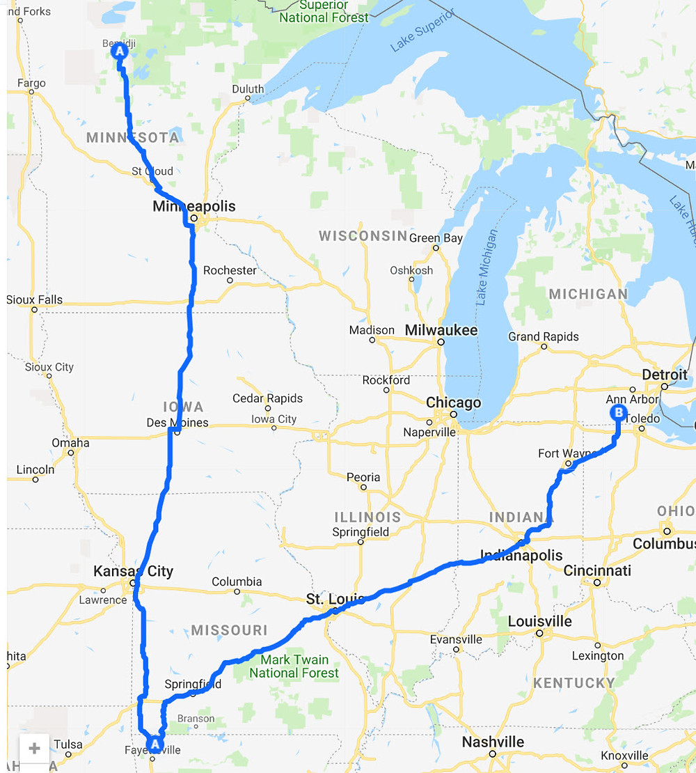 A map showing the route from Bemidji, MN to Rogers, AR to Adrian, MI