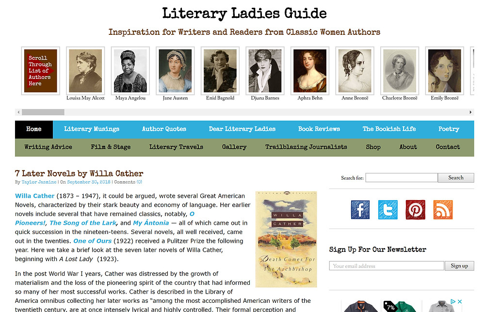 Literary Ladies Guide website home page with portraits of eight classic women authors