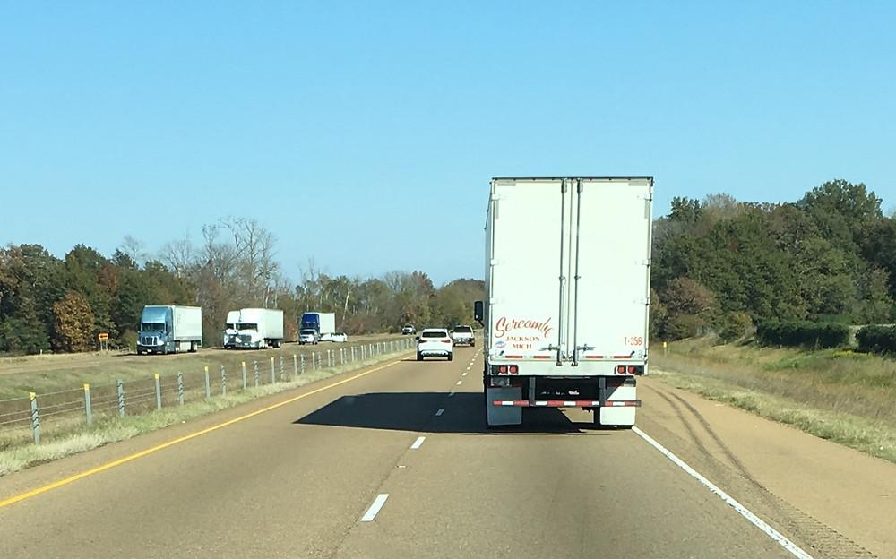 Trucks, trucks, and more trucks on I40 in SE Arkansas