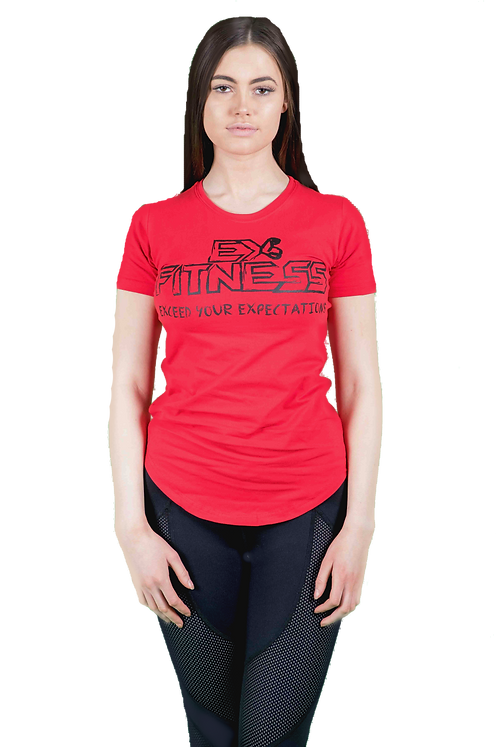 Lengthened Scoop Bottom Tee (Red)