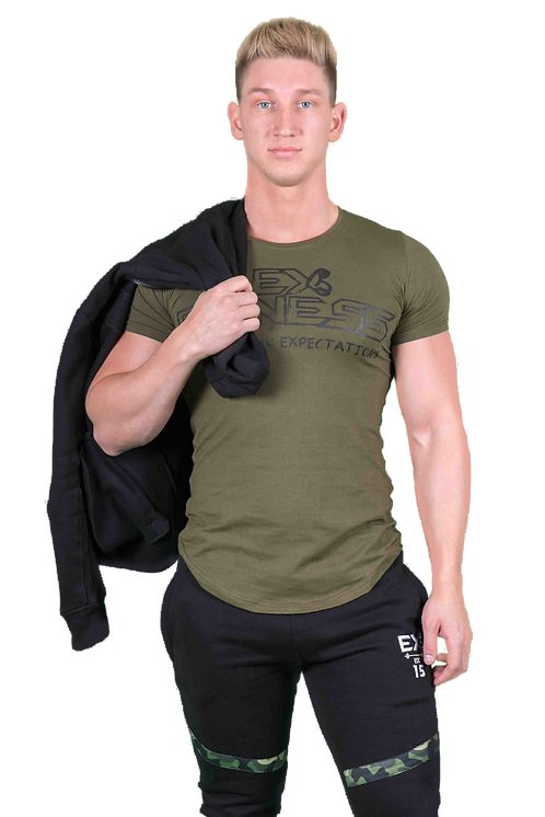 Lengthened Scoop Bottom Tee (Khaki)