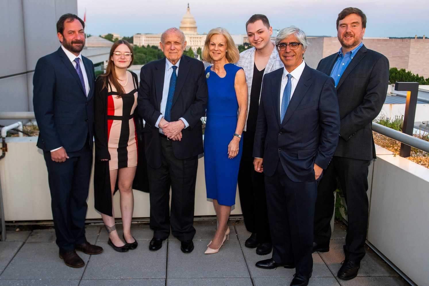 The 2019 Honorees: Dr. George Luber, Grace Marion, Floyd Abrams, Christie Hefner (Foundation President), Christian Bales, Ted Boutrous, Greg Lukianoff. Not pictured: Jonathan Haidt.