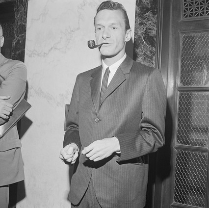Hef exiting a Chicago courthouse after being arrested on obscenity charges in 1963