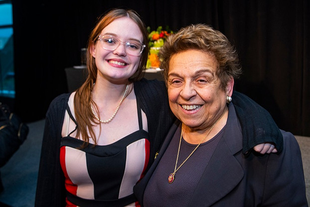 Journalism winner Grace Marion and Rep. Donna Shalala