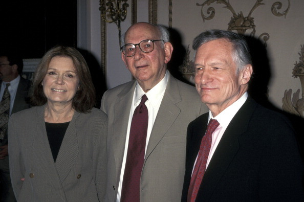 Gloria Steinem, Byron Dobell, and Hef during the American Society of Magazine Editor's Awards, April 29, 1998