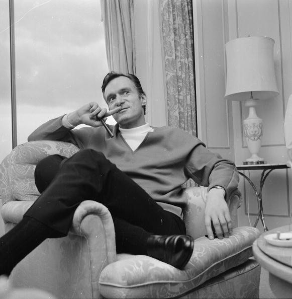 Hef giving an interview in London, 1966