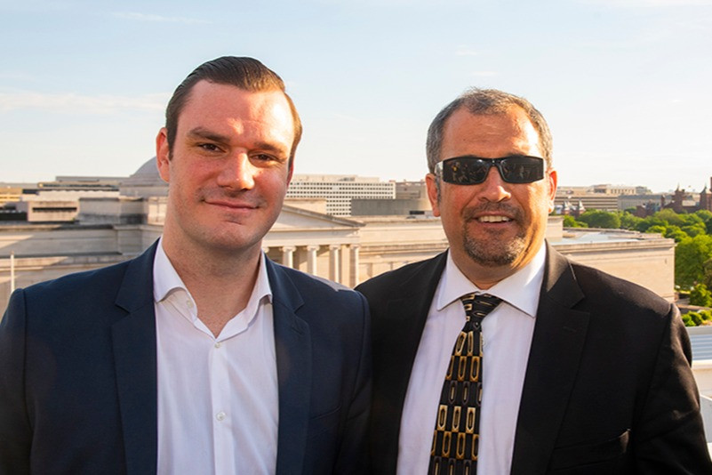 Cooper Hefner and Playboy Magazine's White House correspondent, Brian Karem