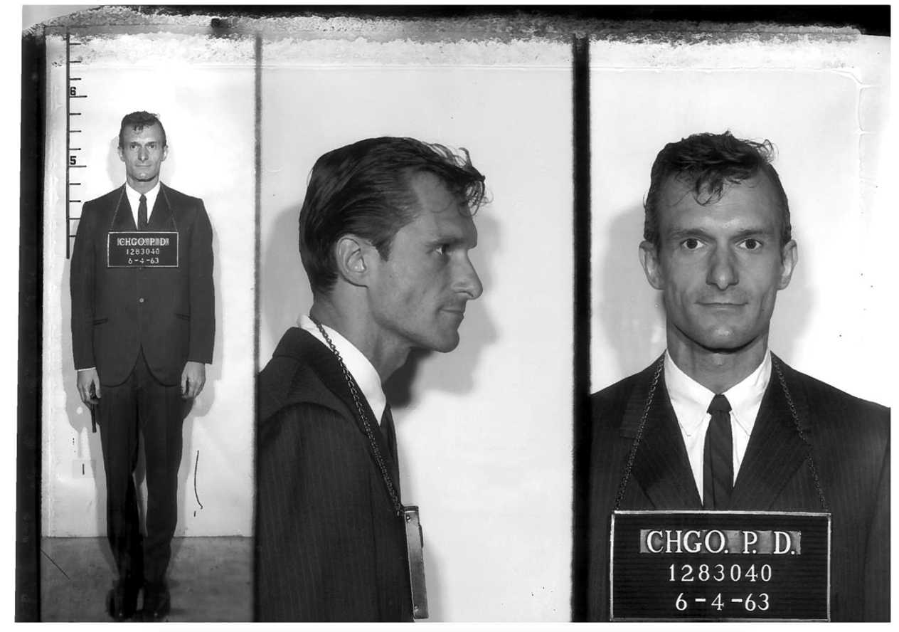 Hef's mugshot after being arrested on obscenity charges
