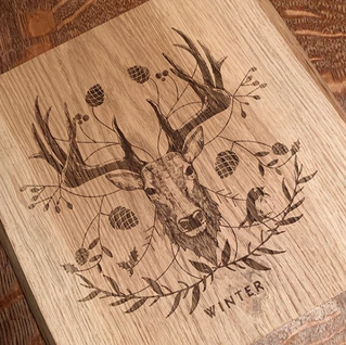 Illustration for 'The Seaons' engraved oak homewares