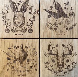 Illustrations for engraved oak homewares