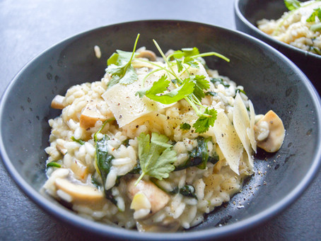 Risotto med spinat og svampe