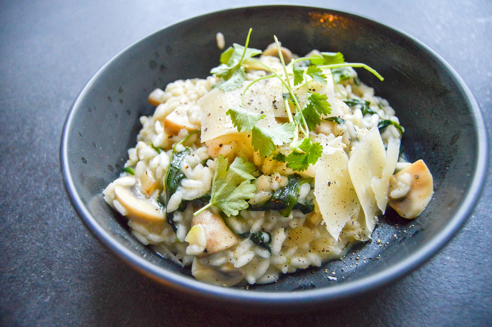 risotto, spinat, svampe, scoremad, simremad, hvidvin