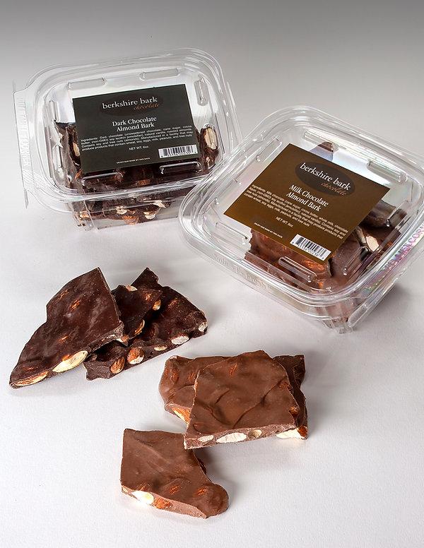 Belgian dark chocolate and milk chocolate almond bark