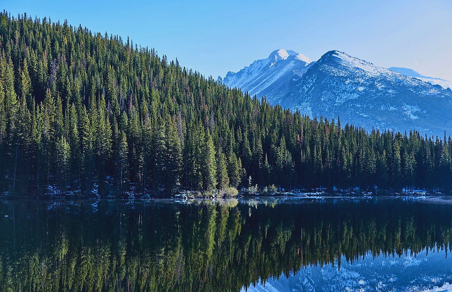 Lake in front of forest and mountains