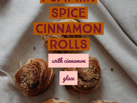 Vegan Pumpkin Spice Cinnamon Rolls with Cinnamon Glaze