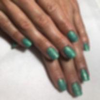 Green mix glitter gel nails 🧜🏻♀️ #mer