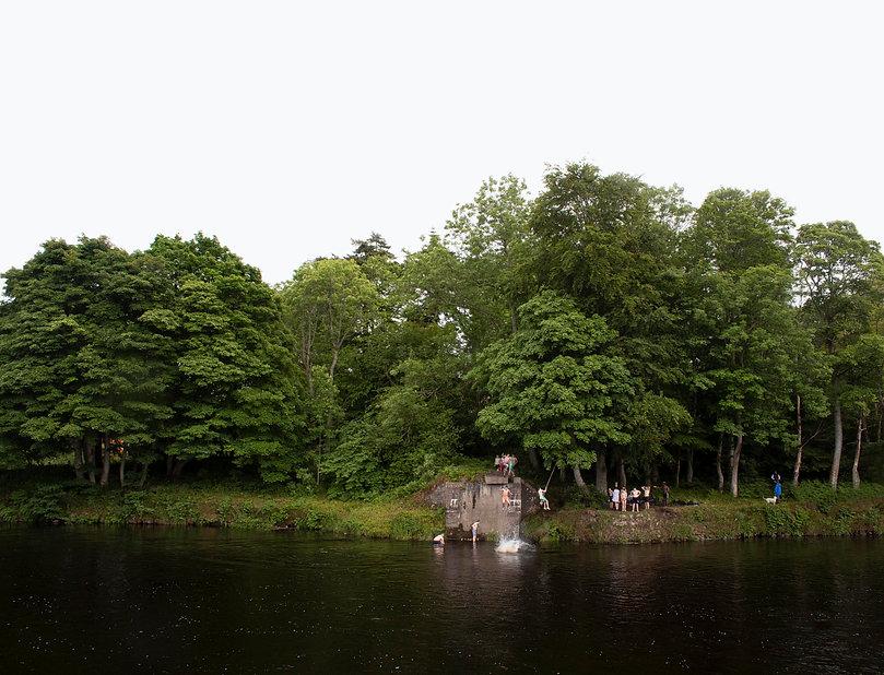 An extended representation of time. River Dee. Aberdeen, Scotland
