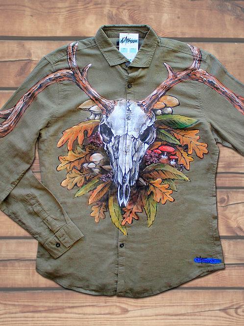 Calavera ciervo y hojas