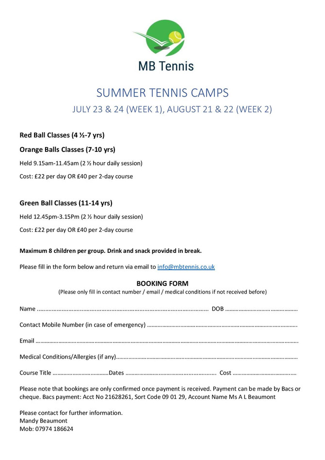 Tennis Junior Summer Camp