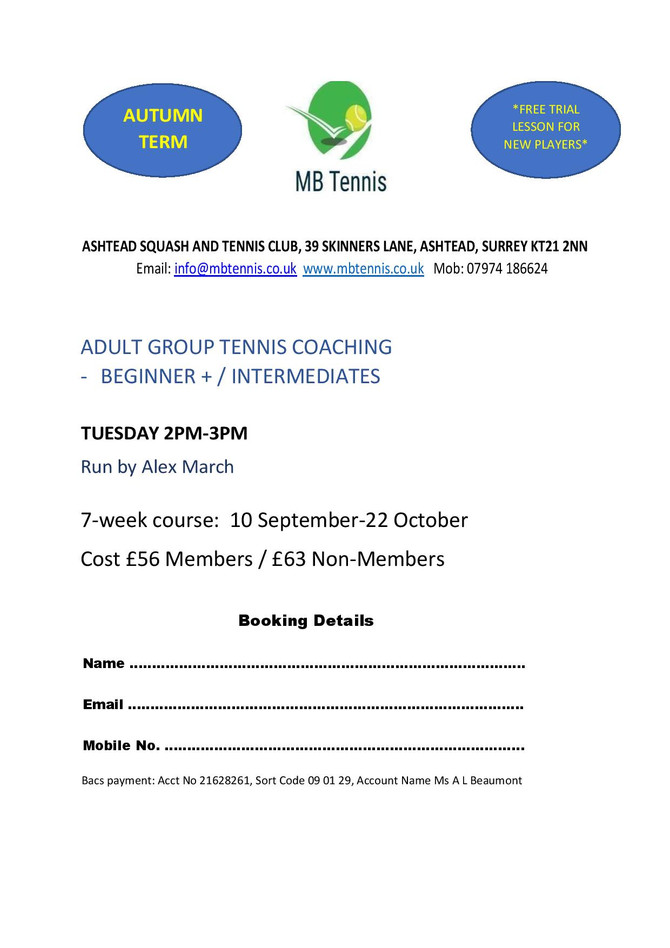 Adult Tennis Coaching Course