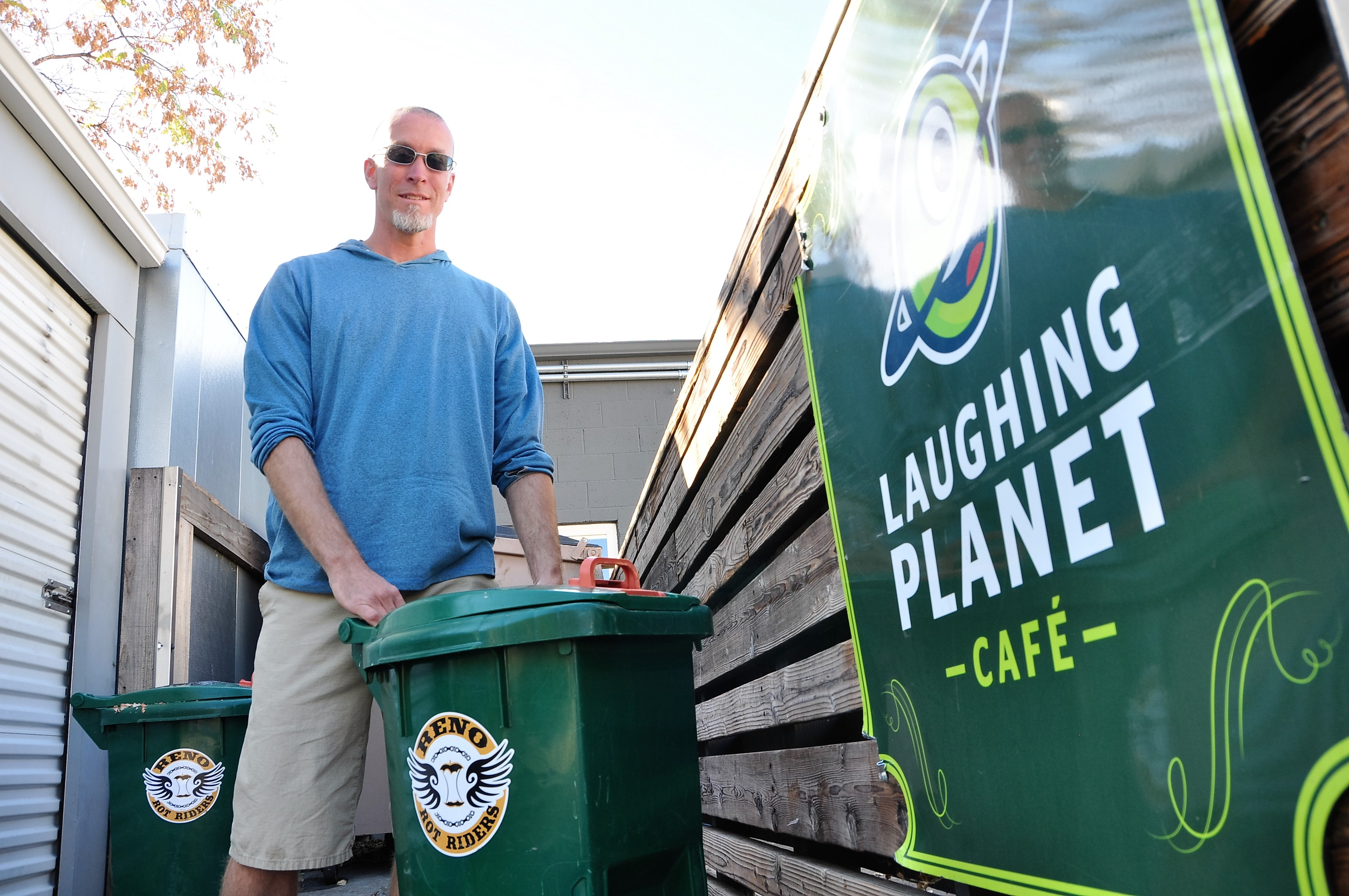 Kyle with bins at Laughing Planet