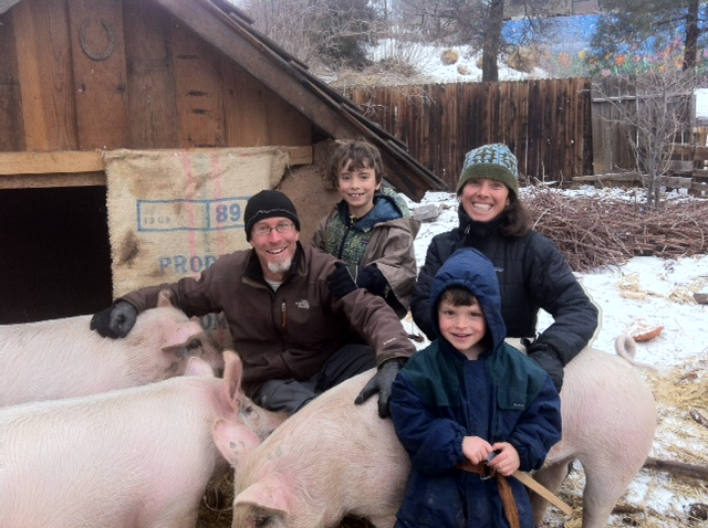Family with our first pigs