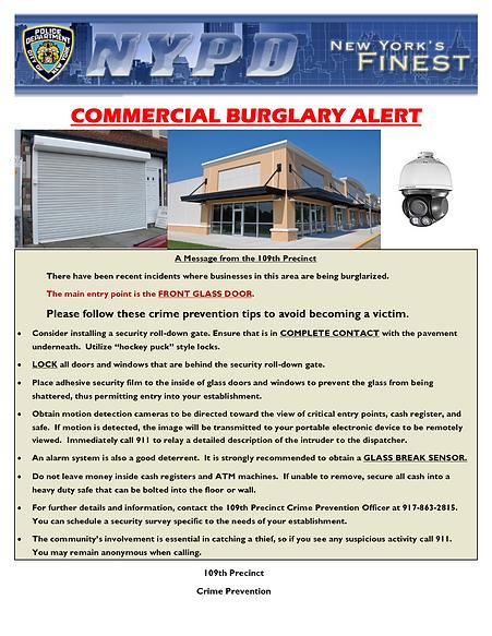 Commercial Burglary Flyer - Front Glass