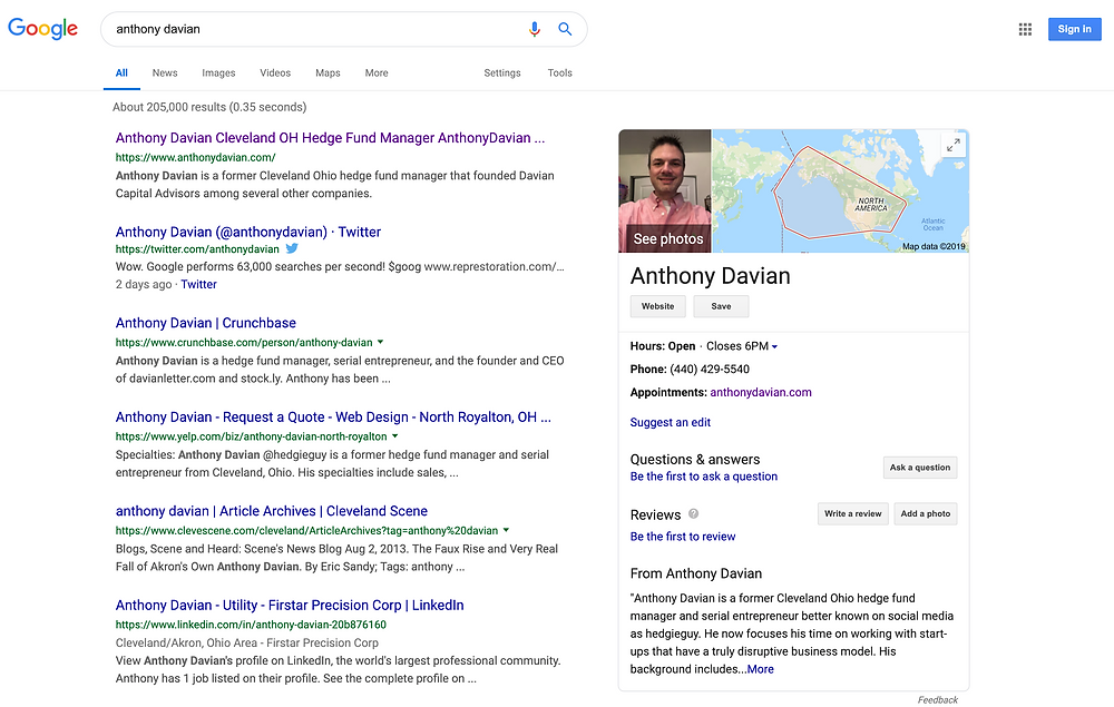 Anthony Davian's Google Search Engine Results Page (SERP)