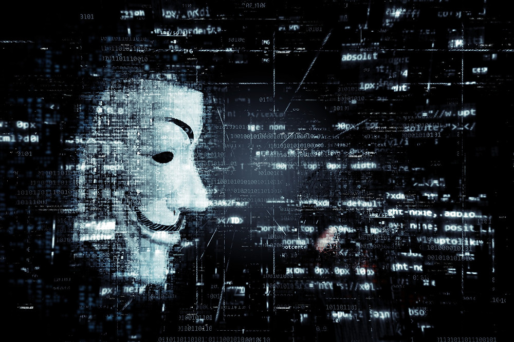 Anonymous hacker group. Guy Fawkes mask.