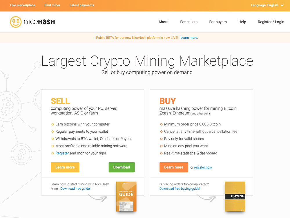 the Nicehash mining marketplace