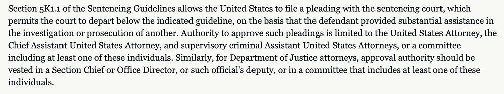 US Federal 5K1.1 motion