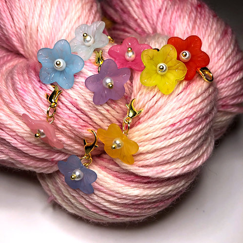 Reproduction Lucite Flower Stitch Marker-Set of 9