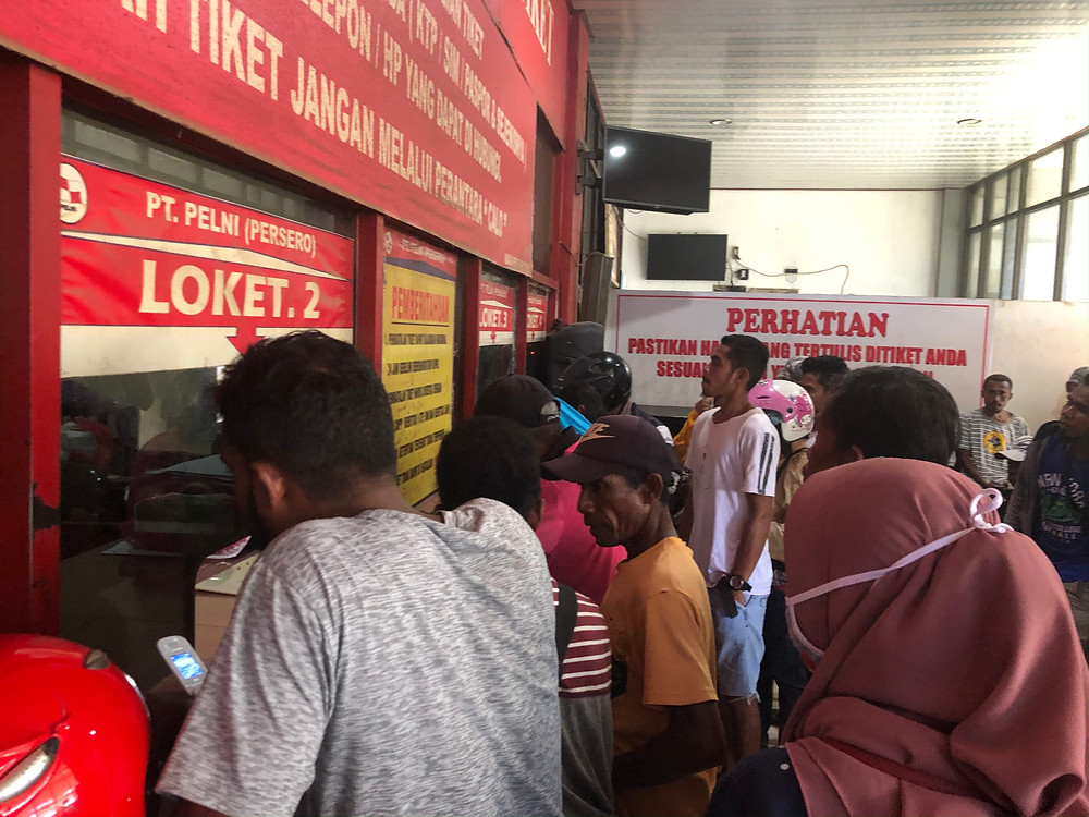 Buying tickets to the pelni ferry in Sorong