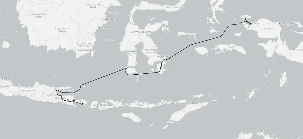 Map of route from Bali to Raja Ampat