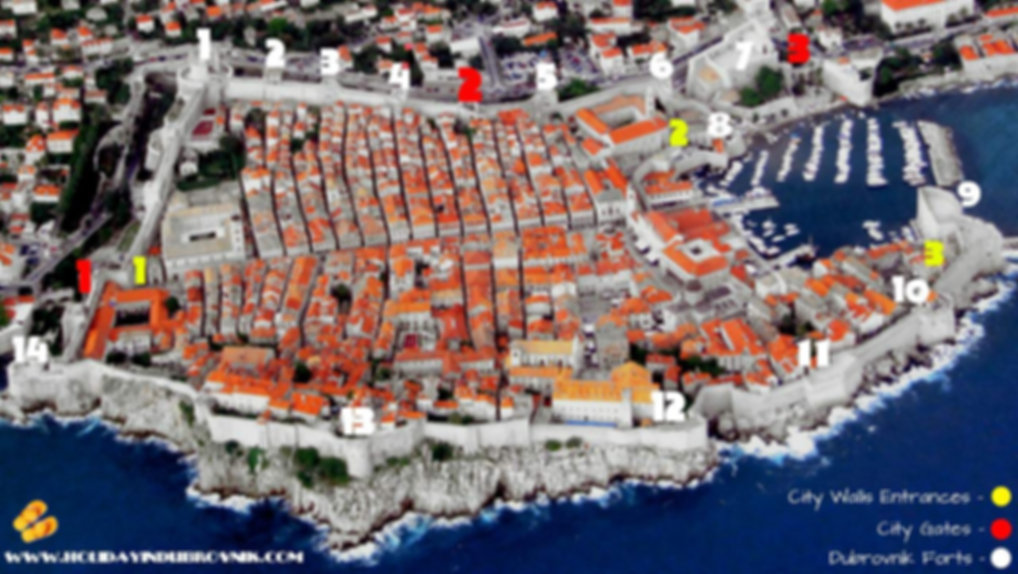 Dubrovnik city walls and forts map