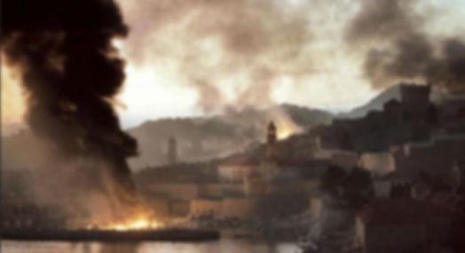 Dubrovnik in war for indepencence under fire of grenades.