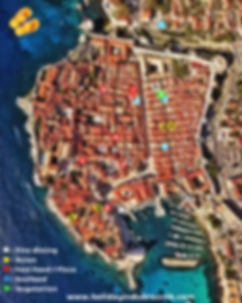 Dubrovnik Old Town restaurants map 2020.