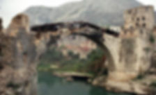 Mostar Old Bridge during the war