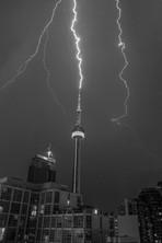 Lightning striking CN Tower