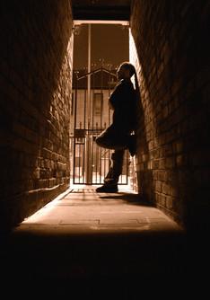 Man in Alleyway - Sepia
