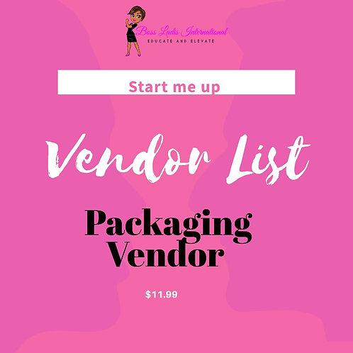 Packaging Vendor List
