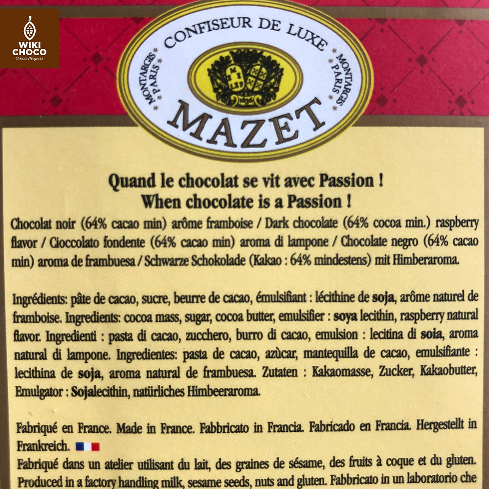 ingredientes del chcocolate mazet con aroma a frambuesa