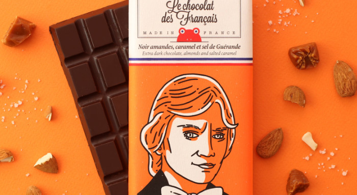 Chocolate oscuro con almendras y caramelo de le chocolat des français