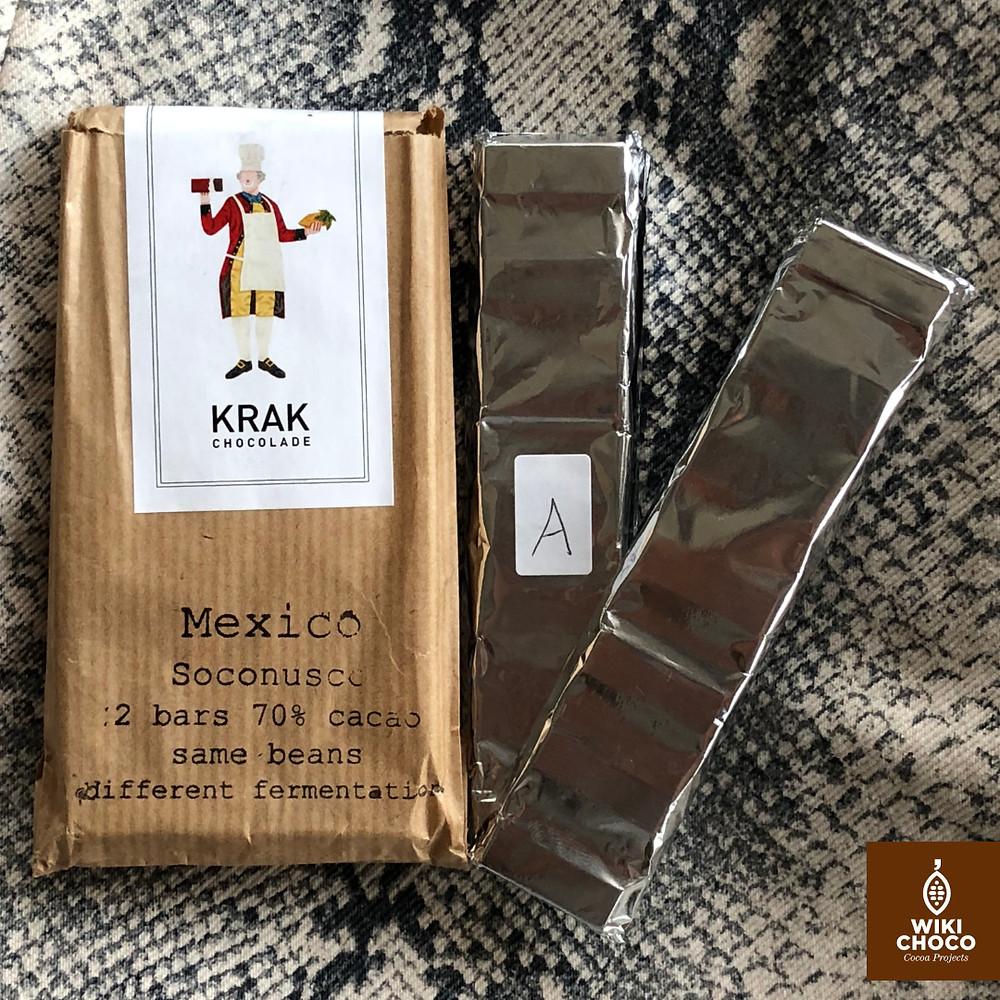 Cacao mexicano de la empresa krak chocolade con chocolate noir