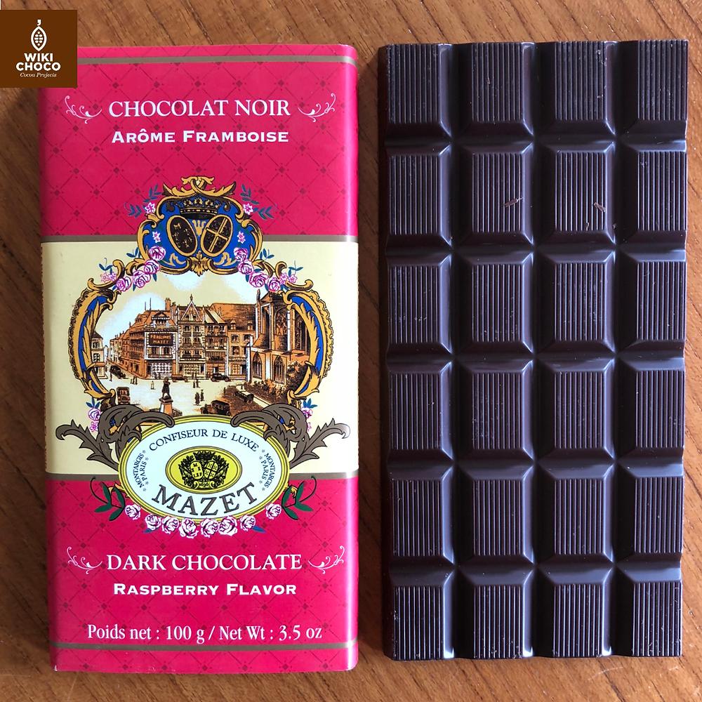 chocolat noir arome framboise de la marca francesa mazet confiseur